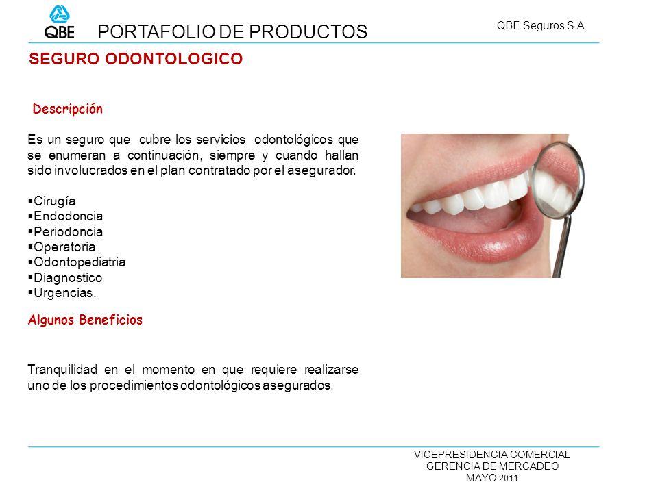 VICEPRESIDENCIA COMERCIAL GERENCIA DE MERCADEO MAYO 2011 QBE Seguros S.A. SEGURO ODONTOLOGICO Es un seguro que cubre los servicios odontológicos que s