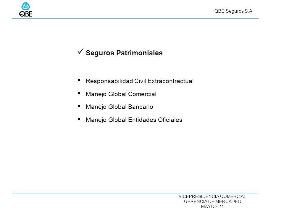 VICEPRESIDENCIA COMERCIAL GERENCIA DE MERCADEO MAYO 2011 QBE Seguros S.A. Seguros Patrimoniales Responsabilidad Civil Extracontractual Manejo Global C