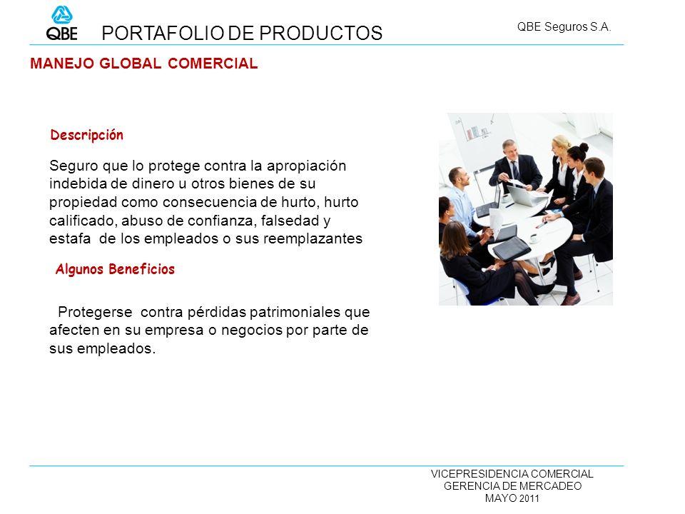 VICEPRESIDENCIA COMERCIAL GERENCIA DE MERCADEO MAYO 2011 QBE Seguros S.A. MANEJO GLOBAL COMERCIAL Seguro que lo protege contra la apropiación indebida