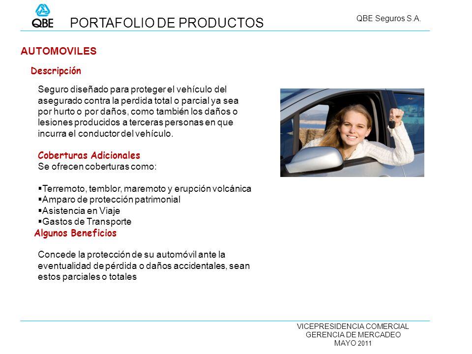 VICEPRESIDENCIA COMERCIAL GERENCIA DE MERCADEO MAYO 2011 QBE Seguros S.A. AUTOMOVILES Seguro diseñado para proteger el vehículo del asegurado contra l