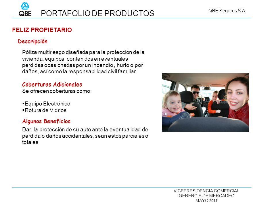 VICEPRESIDENCIA COMERCIAL GERENCIA DE MERCADEO MAYO 2011 QBE Seguros S.A. FELIZ PROPIETARIO Póliza multiriesgo diseñada para la protección de la vivie