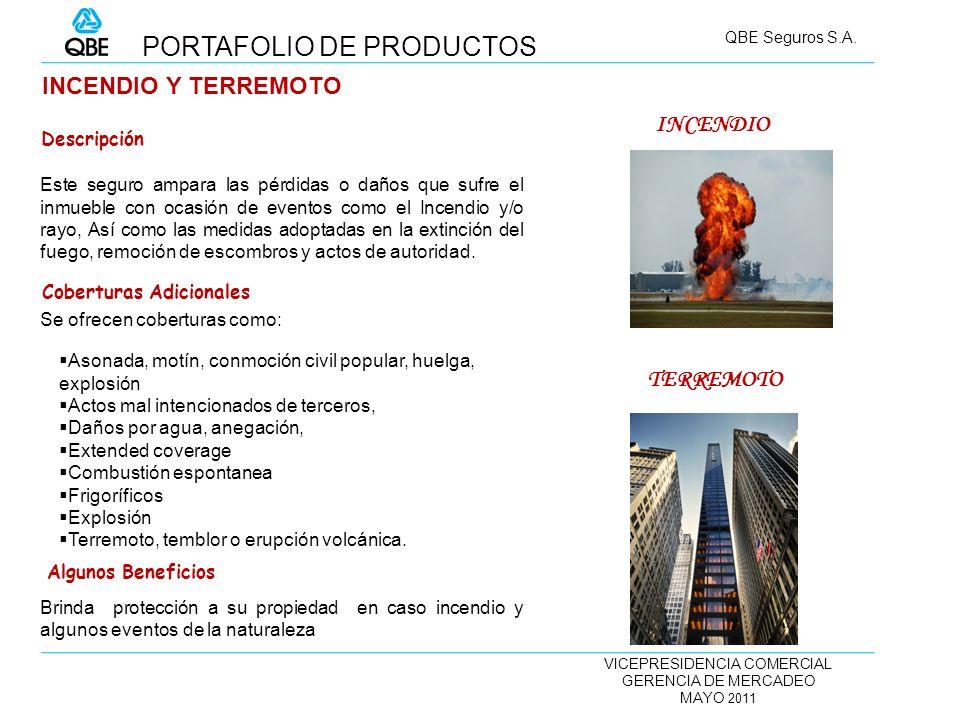 VICEPRESIDENCIA COMERCIAL GERENCIA DE MERCADEO MAYO 2011 QBE Seguros S.A. INCENDIO Y TERREMOTO Este seguro ampara las pérdidas o daños que sufre el in