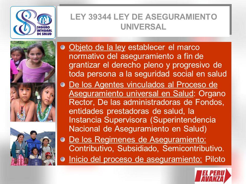 LEY 39344 LEY DE ASEGURAMIENTO UNIVERSAL Objeto de la ley establecer el marco normativo del aseguramiento a fin de grantizar el derecho pleno y progre