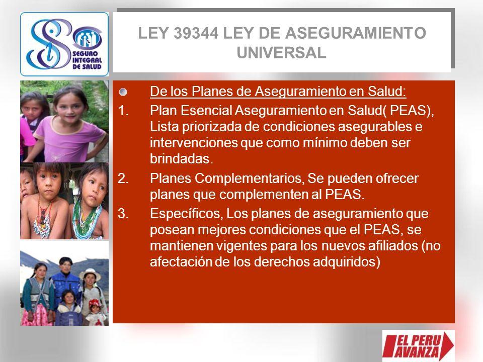De los Planes de Aseguramiento en Salud: 1.Plan Esencial Aseguramiento en Salud( PEAS), Lista priorizada de condiciones asegurables e intervenciones q