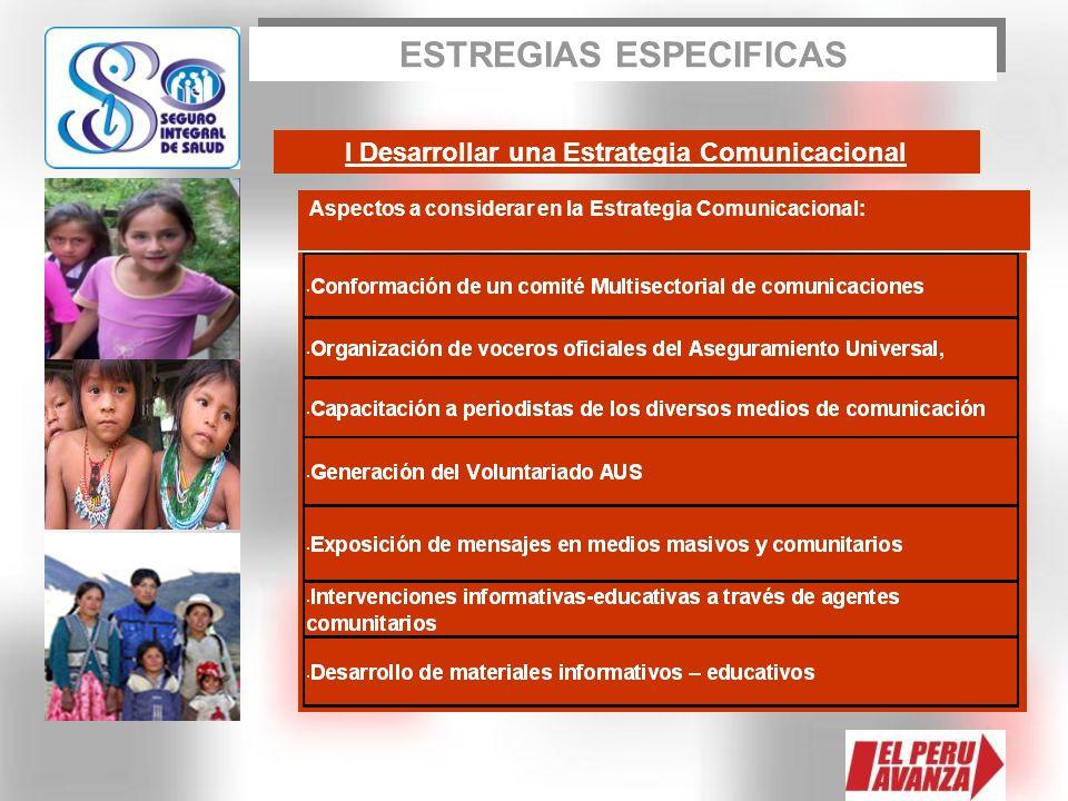 I Desarrollar una Estrategia Comunicacional Aspectos a considerar en la Estrategia Comunicacional: ESTREGIAS ESPECIFICAS