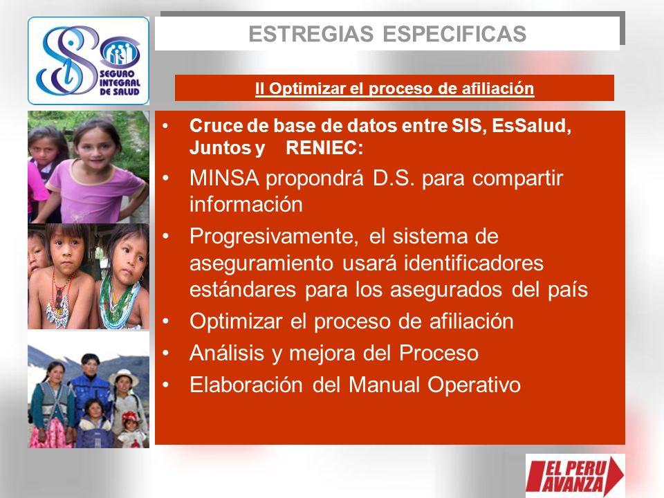 Cruce de base de datos entre SIS, EsSalud, Juntos y RENIEC: MINSA propondrá D.S. para compartir información Progresivamente, el sistema de aseguramien