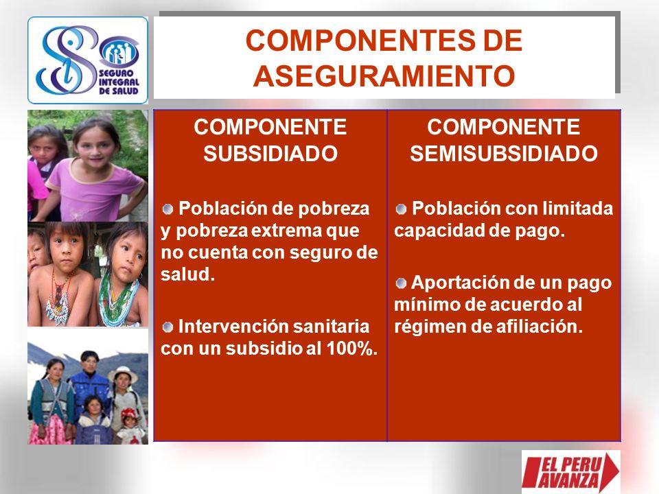 COMPONENTES DE ASEGURAMIENTO COMPONENTE SUBSIDIADO Población de pobreza y pobreza extrema que no cuenta con seguro de salud. Intervención sanitaria co