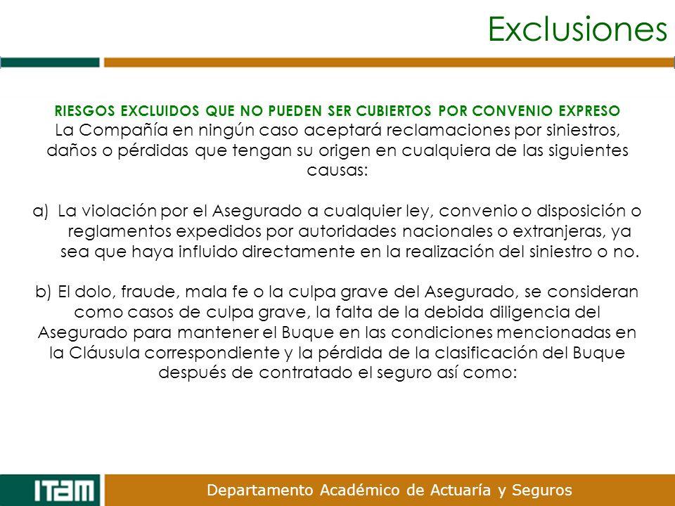 Departamento Académico de Actuaría y Seguros Exclusiones RIESGOS EXCLUIDOS QUE NO PUEDEN SER CUBIERTOS POR CONVENIO EXPRESO La Compañía en ningún caso