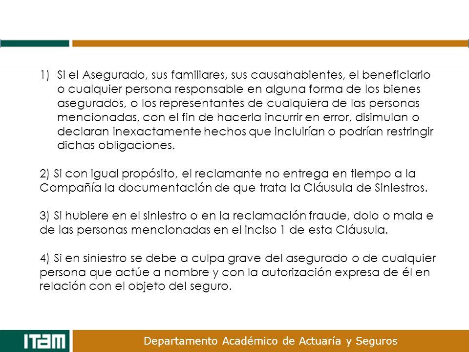 Departamento Académico de Actuaría y Seguros 1)Si el Asegurado, sus familiares, sus causahabientes, el beneficiario o cualquier persona responsable en