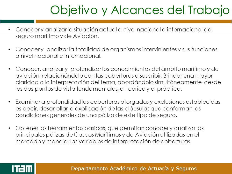 Departamento Académico de Actuaría y Seguros Conocer y analizar la situación actual a nivel nacional e internacional del seguro marítimo y de Aviación