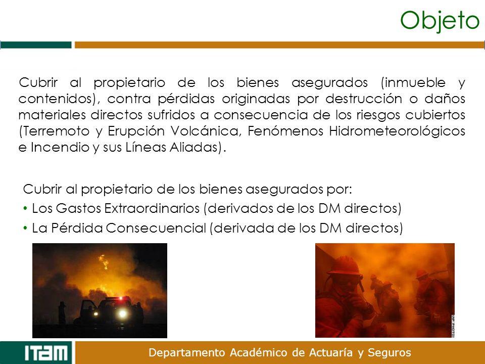 Objeto Cubrir al propietario de los bienes asegurados (inmueble y contenidos), contra pérdidas originadas por destrucción o daños materiales directos