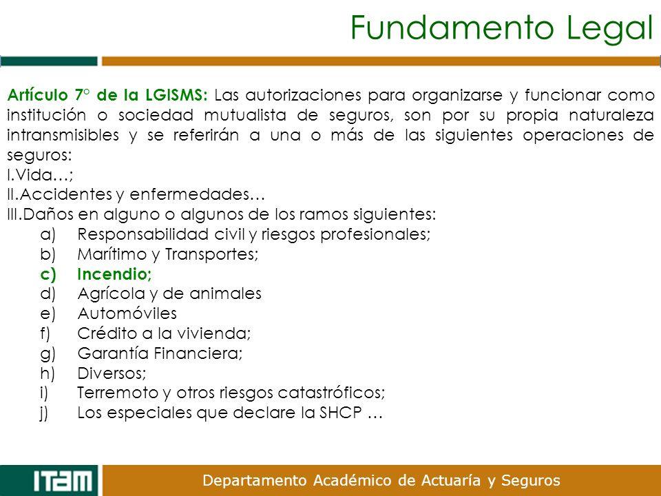 Departamento Académico de Actuaría y Seguros Fundamento Legal Artículo 7° de la LGISMS: Las autorizaciones para organizarse y funcionar como instituci