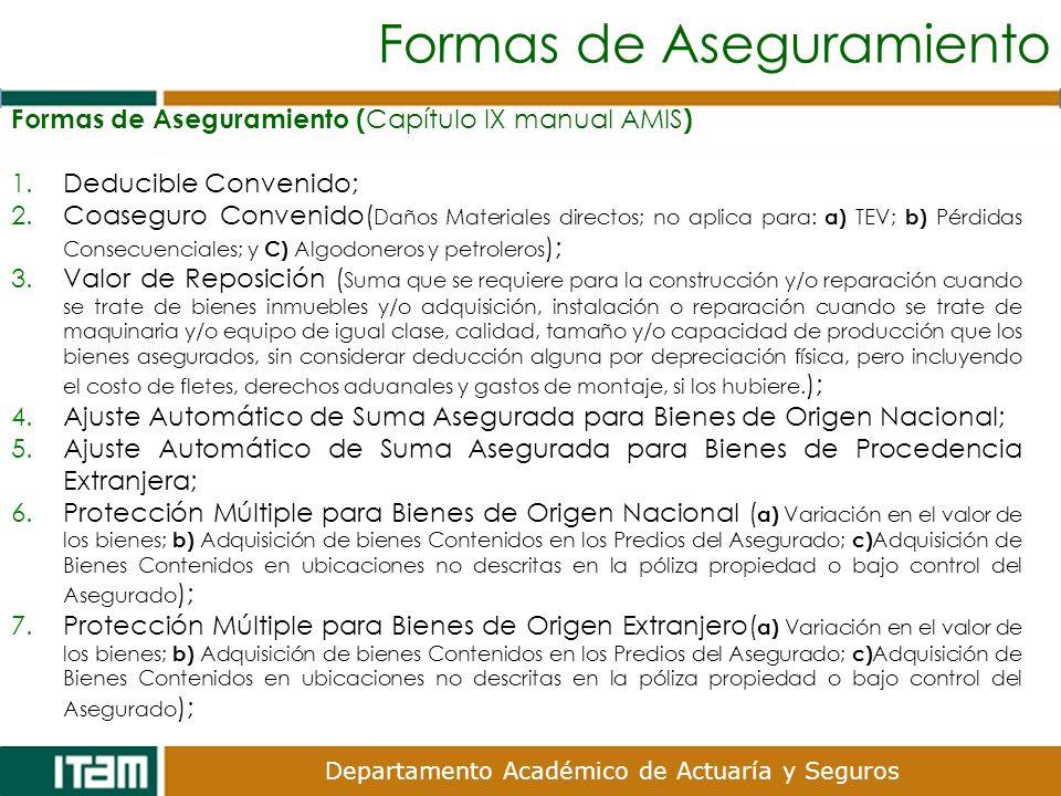 Departamento Académico de Actuaría y Seguros Formas de Aseguramiento Formas de Aseguramiento ( Capítulo IX manual AMIS ) 1.Deducible Convenido; 2.Coas