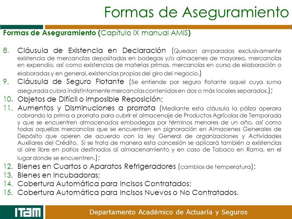 Departamento Académico de Actuaría y Seguros Formas de Aseguramiento Formas de Aseguramiento ( Capítulo IX manual AMIS ) 8.Cláusula de Existencia en D