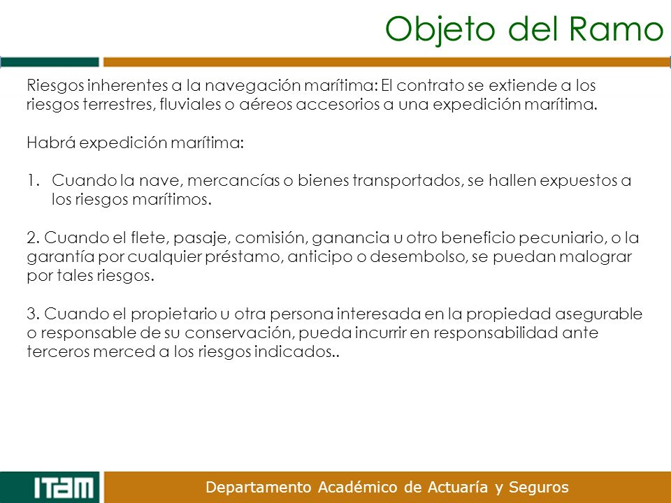 Departamento Académico de Actuaría y Seguros Riesgos Ordinarios de Tránsito (ROT).