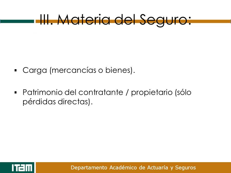 Departamento Académico de Actuaría y Seguros III. Materia del Seguro: Carga (mercancías o bienes). Patrimonio del contratante / propietario (sólo pérd