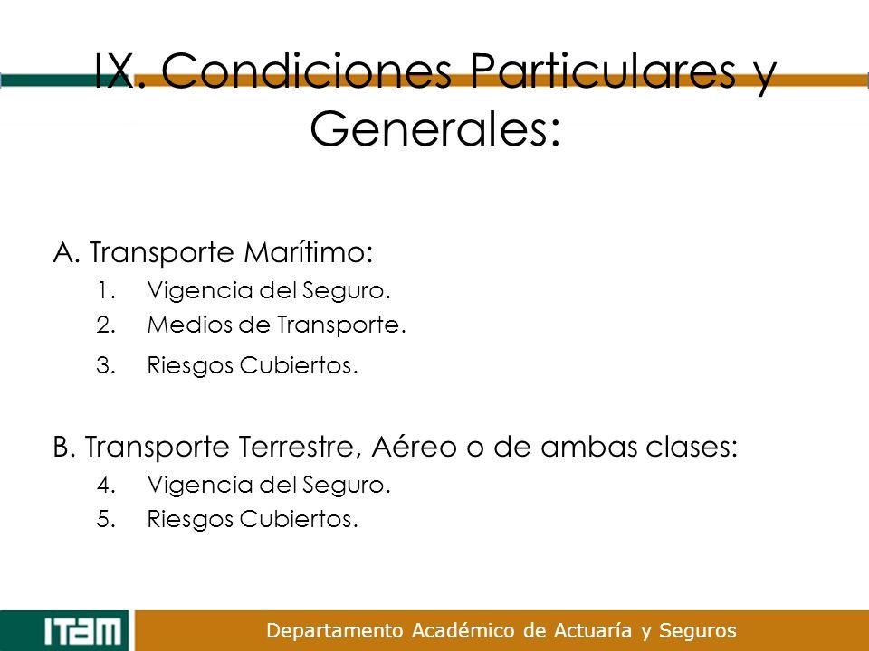 Departamento Académico de Actuaría y Seguros IX. Condiciones Particulares y Generales: A. Transporte Marítimo: 1.Vigencia del Seguro. 2.Medios de Tran