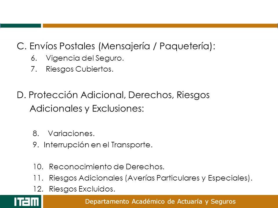 Departamento Académico de Actuaría y Seguros C. Envíos Postales (Mensajería / Paquetería): 6. Vigencia del Seguro. 7. Riesgos Cubiertos. D. Protección