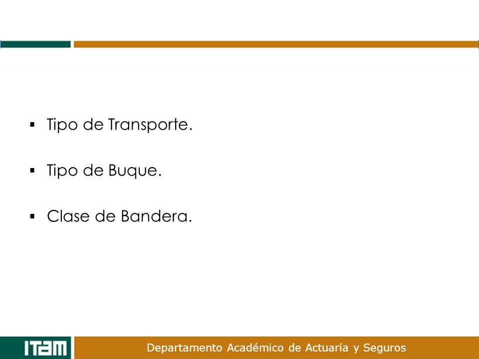 Departamento Académico de Actuaría y Seguros Tipo de Transporte. Tipo de Buque. Clase de Bandera.