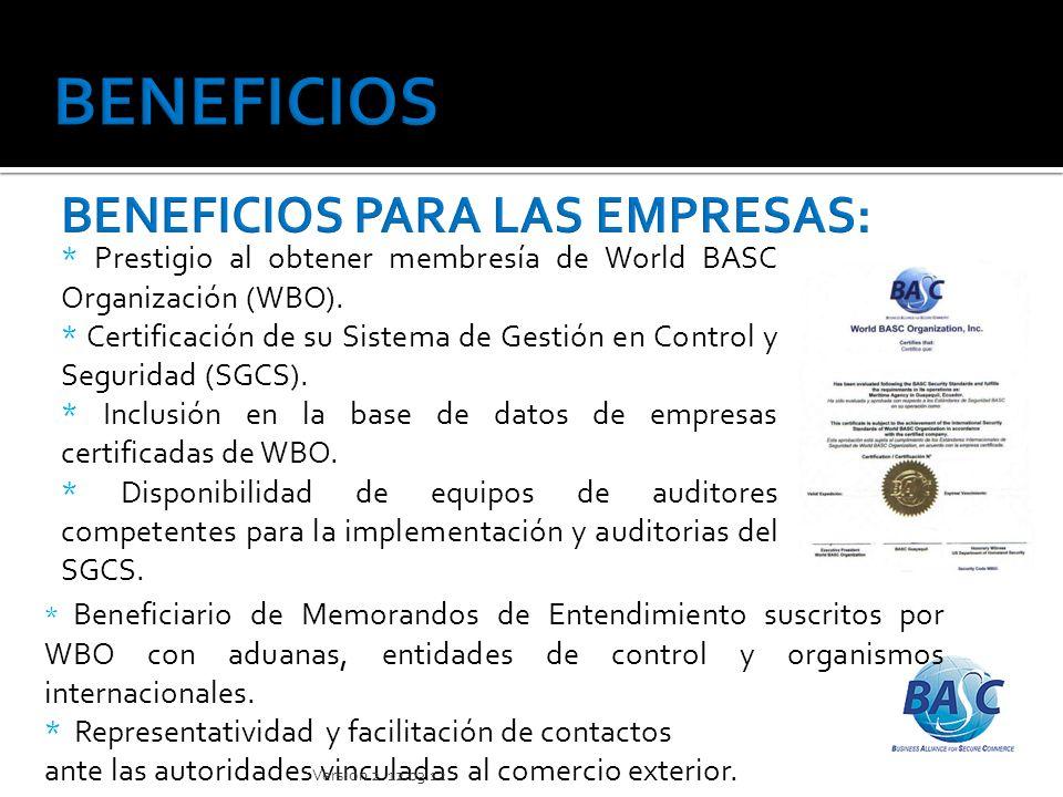 * Organización de los Estados Americanos * Organización Mundial de Aduanas * Cámara de Comercio Internacional.