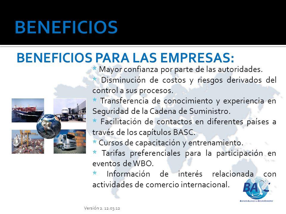 * Prestigio al obtener membresía de World BASC Organización (WBO).