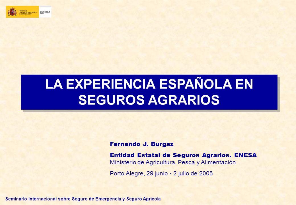 Seminario Internacional sobre Seguro de Emergencia y Seguro Agrícola PARTICIPACIÓN CONJUNTA, EN SU DISEÑO Y DESARROLLO, DE LAS INSTITUCIONES PÚBLICAS Y PRIVADAS INTERESADAS SUBVENCIÓN DE LAS ADMINISTRACIONES PÚBLICAS A LOS ASEGURADOS PARA EL PAGO DEL COSTE DEL SEGURO REASEGURADO POR EL CONSORCIO DE COMPENSACIÓN DE SEGUROS Y OTROS REASEGURADORES PRIVADOS INTERNACIONALES TASACIÓN DE LOS SINIESTROS: REALIZADA POR PERITOS INDEPENDIENTES CONTRATADOS POR AGROSEGURO ESTÁN ESTABLECIDAS NORMAS OFICIALES DE PERITACIÓN PRINCIPALES CARACTERÍSTICAS DEL SISTEMA (III)