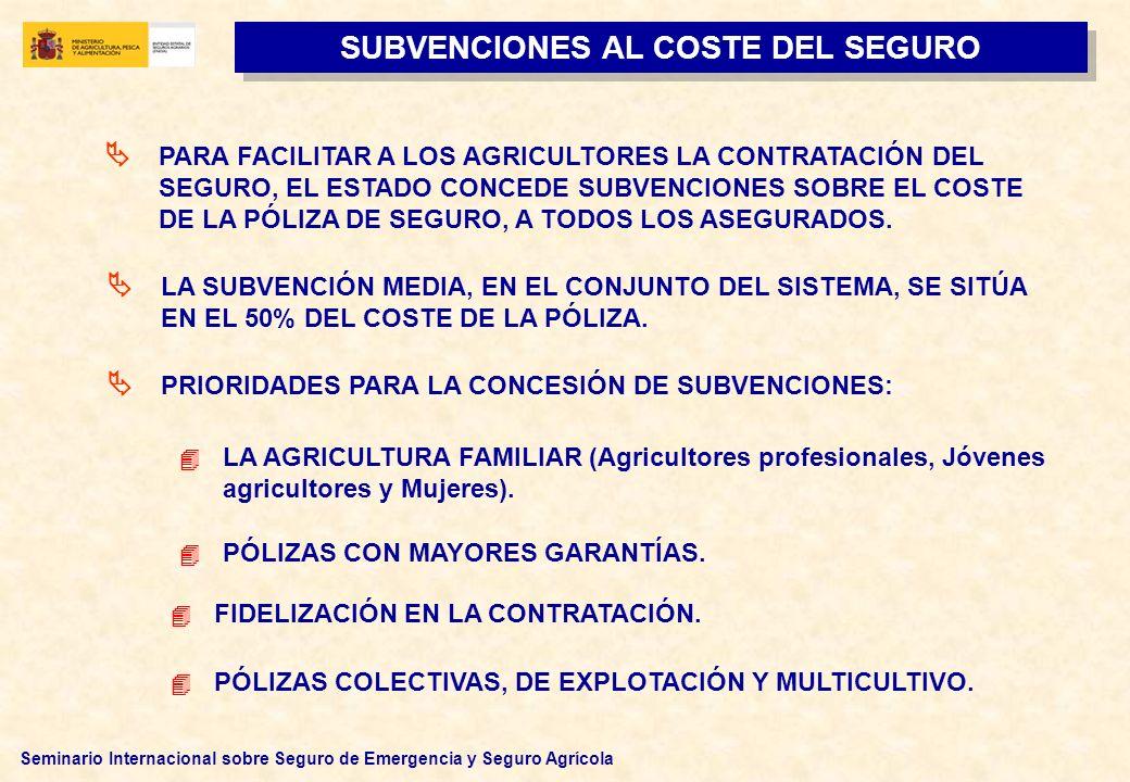 Seminario Internacional sobre Seguro de Emergencia y Seguro Agrícola SUBVENCIONES AL COSTE DEL SEGURO PARA FACILITAR A LOS AGRICULTORES LA CONTRATACIÓ
