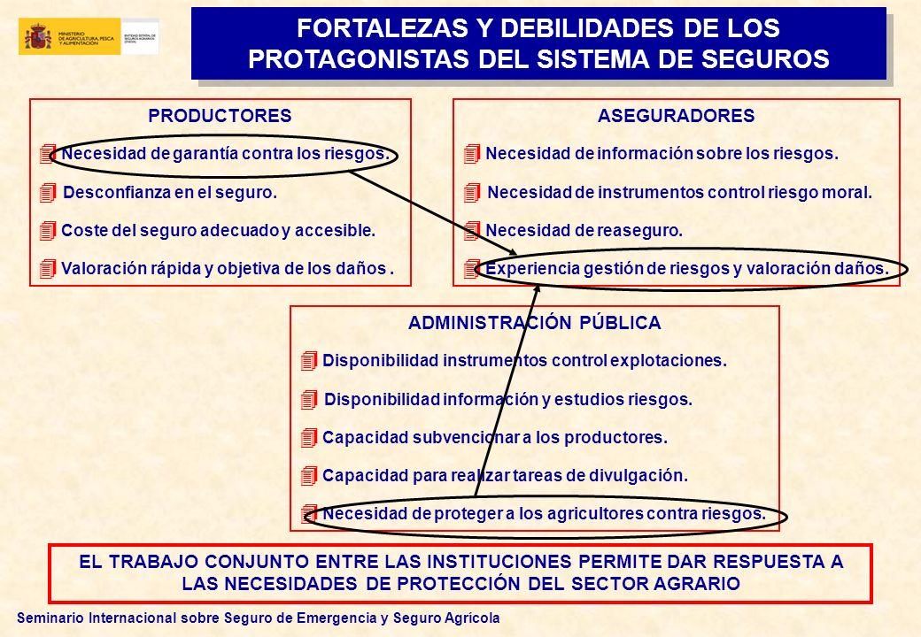 Seminario Internacional sobre Seguro de Emergencia y Seguro Agrícola FORTALEZAS Y DEBILIDADES DE LOS PROTAGONISTAS DEL SISTEMA DE SEGUROS PRODUCTORES