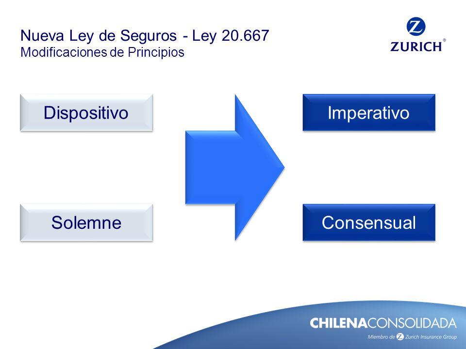 Nueva Ley de Seguros - Ley 20.667 Modificaciones de Principios Imperatividad Las disposiciones que rigen el seguro son obligatorias.