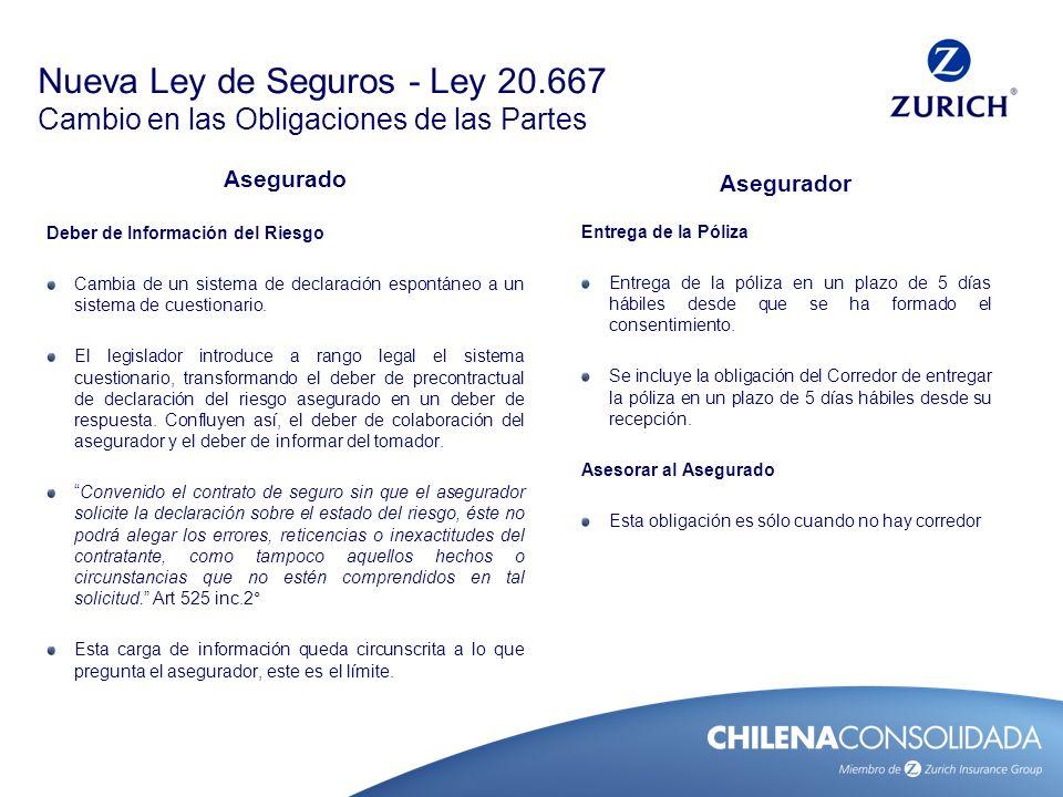 Nueva Ley de Seguros - Ley 20.667 Cambio en las Obligaciones de las Partes Asegurado Deber de Información del Riesgo Cambia de un sistema de declaraci