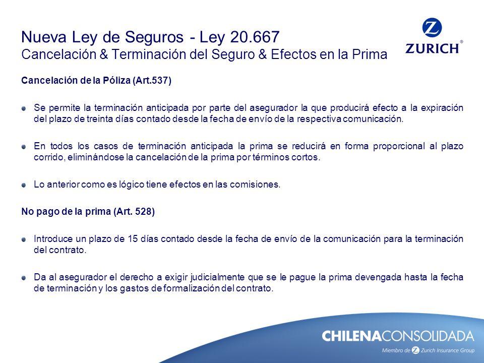 Nueva Ley de Seguros - Ley 20.667 Cancelación & Terminación del Seguro & Efectos en la Prima Cancelación de la Póliza (Art.537) Se permite la terminac