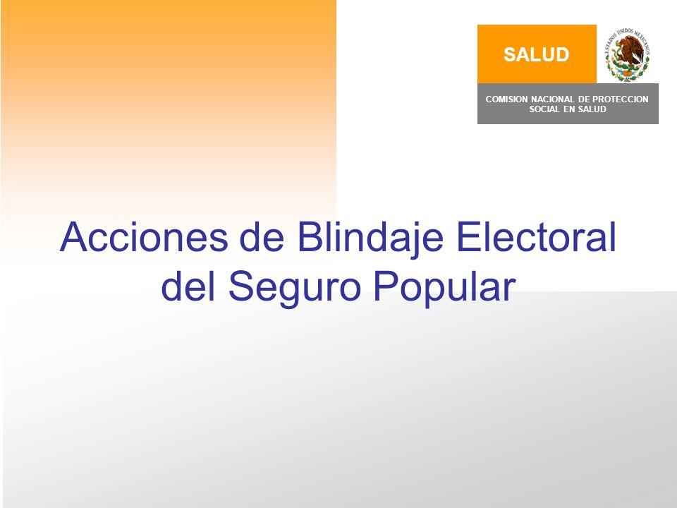 Acciones de Blindaje Electoral del Seguro Popular SALUD COMISION NACIONAL DE PROTECCION SOCIAL EN SALUD