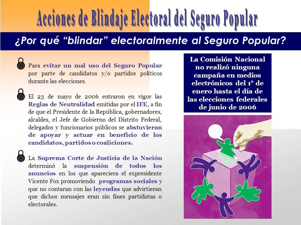 Para evitar un mal uso del Seguro Popular por parte de candidatos y/o partidos políticos durante las elecciones.