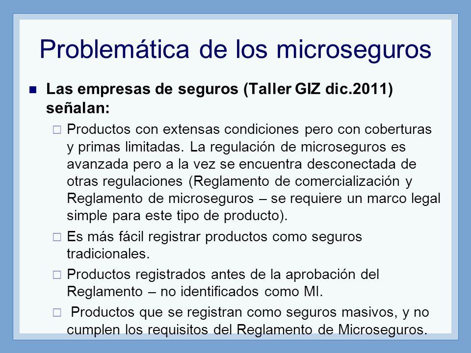 Problemática de los microseguros Las empresas de seguros (Taller GIZ dic.2011) señalan: Productos con extensas condiciones pero con coberturas y prima