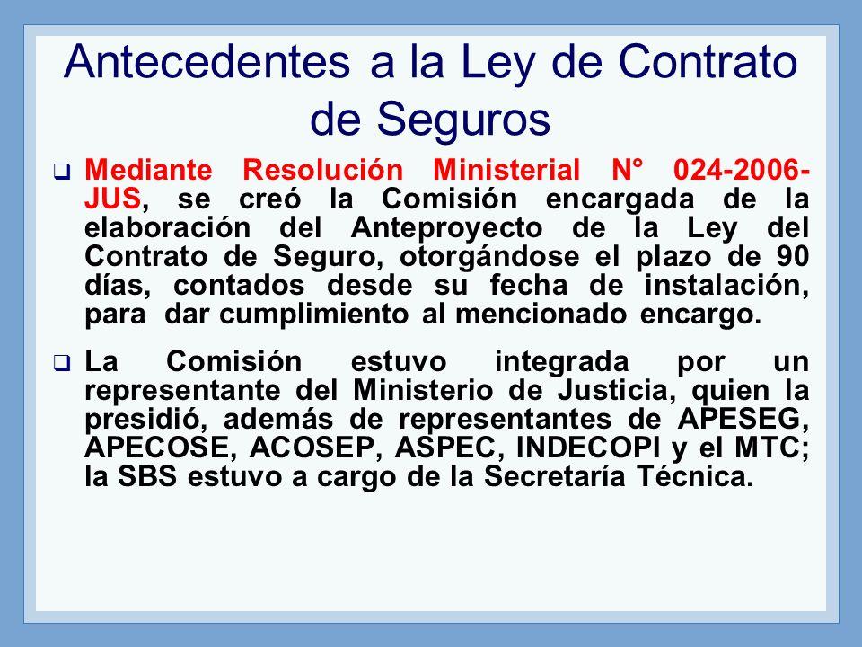 Antecedentes a la Ley de Contrato de Seguros Mediante Resolución Ministerial N° 024-2006- JUS, se creó la Comisión encargada de la elaboración del Ant