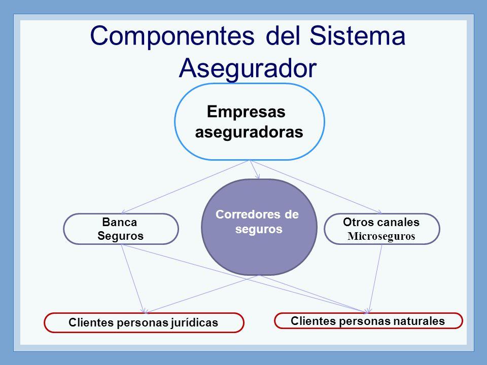 Componentes del Sistema Asegurador Clientes personas naturales Empresas aseguradoras Corredores de seguros Clientes personas jurídicas Banca Seguros O