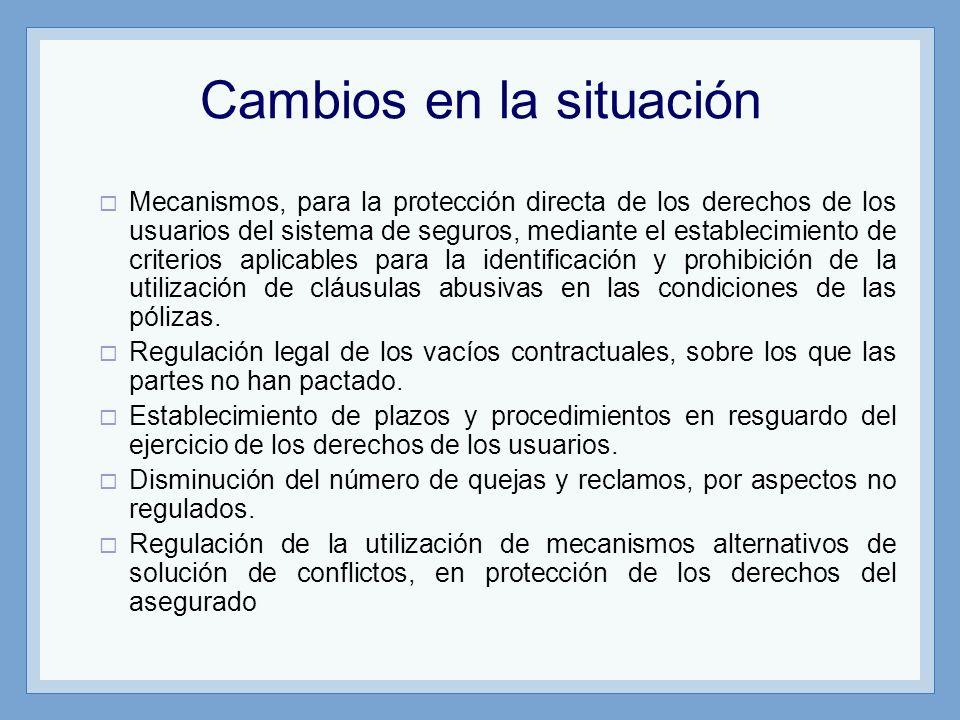 Cambios en la situación Mecanismos, para la protección directa de los derechos de los usuarios del sistema de seguros, mediante el establecimiento de