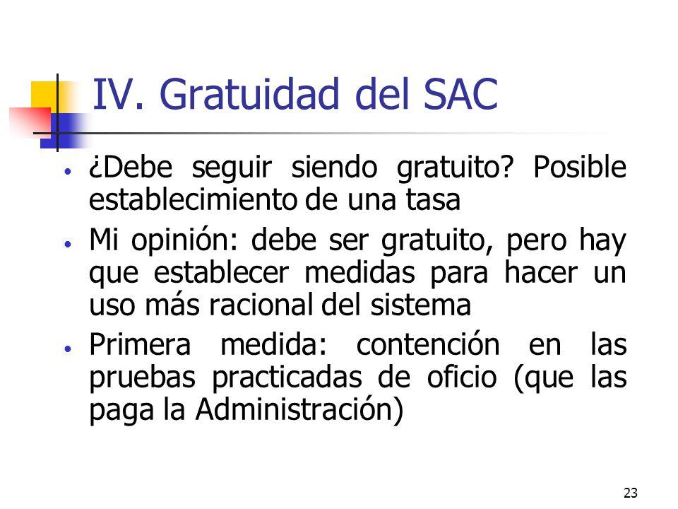 23 IV. Gratuidad del SAC ¿Debe seguir siendo gratuito.