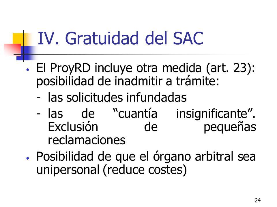24 IV. Gratuidad del SAC El ProyRD incluye otra medida (art.