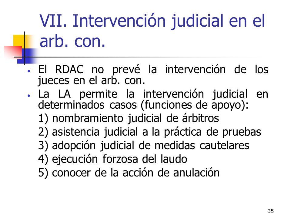 35 VII. Intervención judicial en el arb. con.
