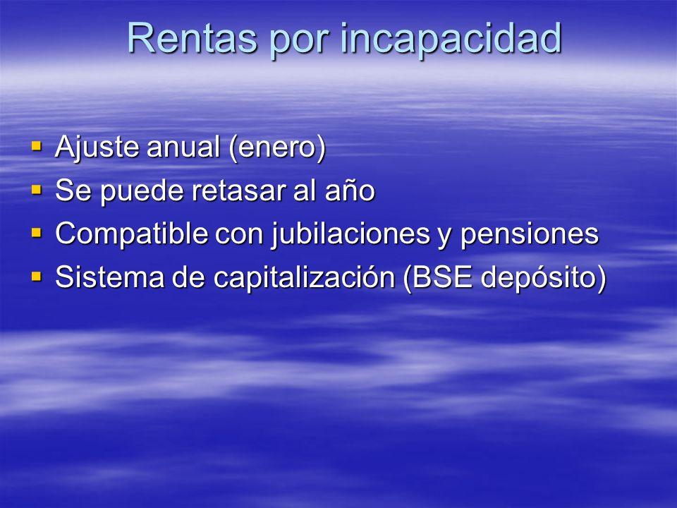 Rentas por incapacidad Ajuste anual (enero) Ajuste anual (enero) Se puede retasar al año Se puede retasar al año Compatible con jubilaciones y pension
