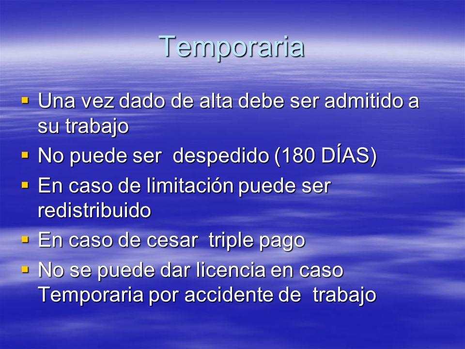 Temporaria Una vez dado de alta debe ser admitido a su trabajo Una vez dado de alta debe ser admitido a su trabajo No puede ser despedido (180 DÍAS) N