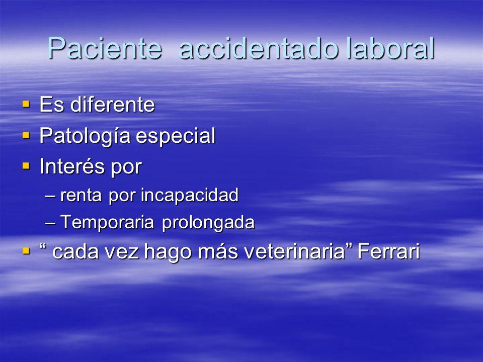Paciente accidentado laboral Es diferente Es diferente Patología especial Patología especial Interés por Interés por –renta por incapacidad –Temporari