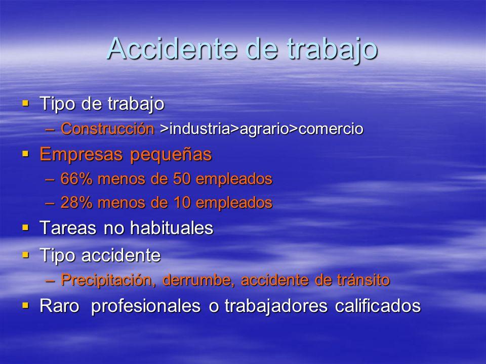 Accidente de trabajo Tipo de trabajo Tipo de trabajo –Construcción >industria>agrario>comercio Empresas pequeñas Empresas pequeñas –66% menos de 50 em