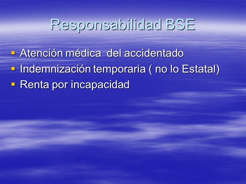Responsabilidad BSE Atención médica del accidentado Atención médica del accidentado Indemnización temporaria ( no lo Estatal) Indemnización temporaria