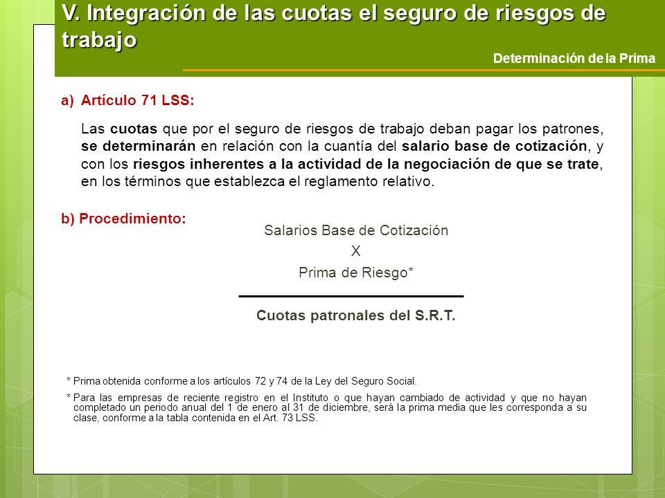 Salarios Base de Cotización X Prima de Riesgo* Cuotas patronales del S.R.T. Determinación de la Prima V. Integración de las cuotas el seguro de riesgo