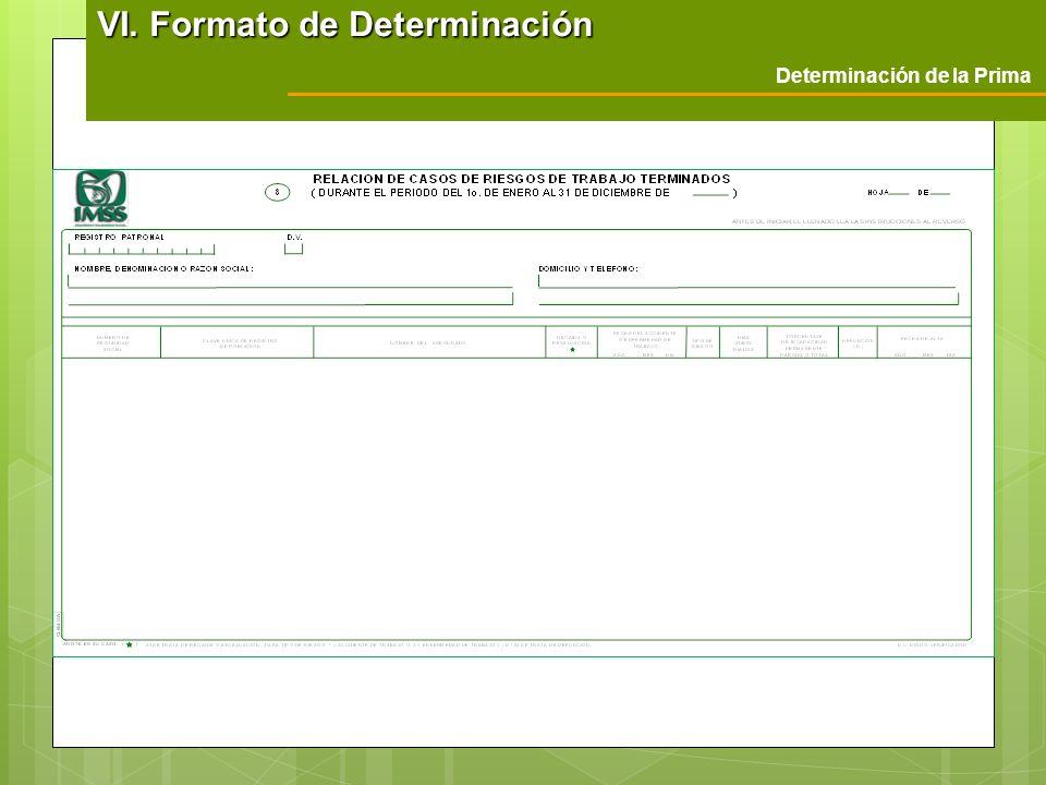 Determinación de la Prima VI. Formato de Determinación