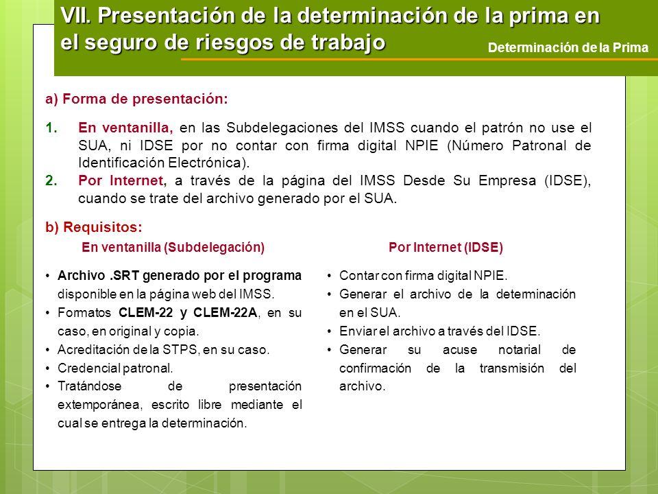 a) Forma de presentación: 1.En ventanilla, en las Subdelegaciones del IMSS cuando el patrón no use el SUA, ni IDSE por no contar con firma digital NPI