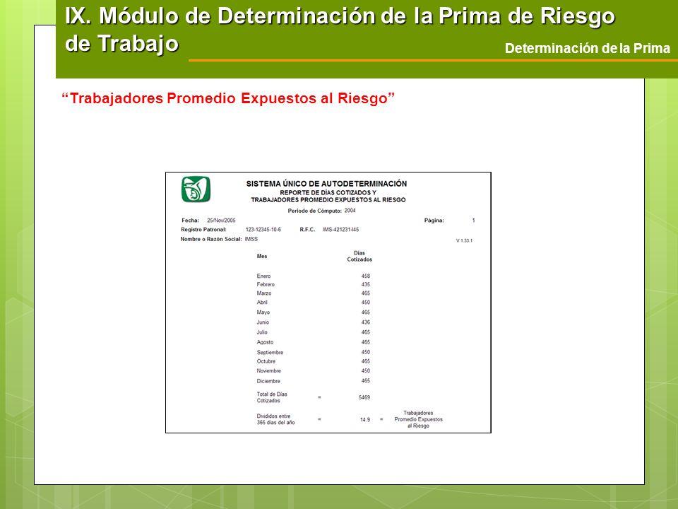 Determinación de la Prima Trabajadores Promedio Expuestos al Riesgo IX. Módulo de Determinación de la Prima de Riesgo de Trabajo