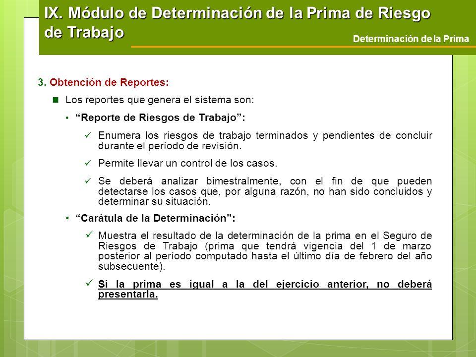 Determinación de la Prima 3. Obtención de Reportes: Los reportes que genera el sistema son: Reporte de Riesgos de Trabajo: Enumera los riesgos de trab